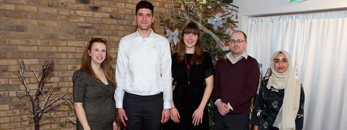 The Level Trust staff team. Left to right: Jane Malcolm, Christian Iszchak, Maddy Iszchak, Neil O'Hara and Husna Rasul